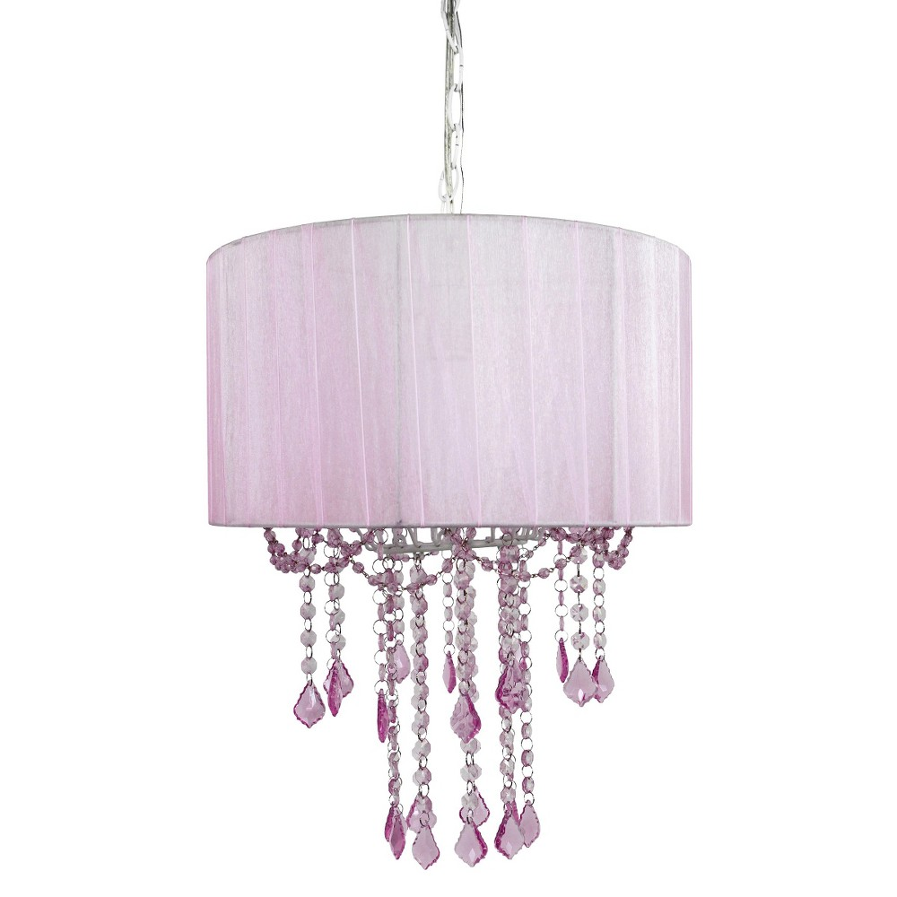 Image of Tadpoles 1 Bulb Shaded Chandelier - Pink