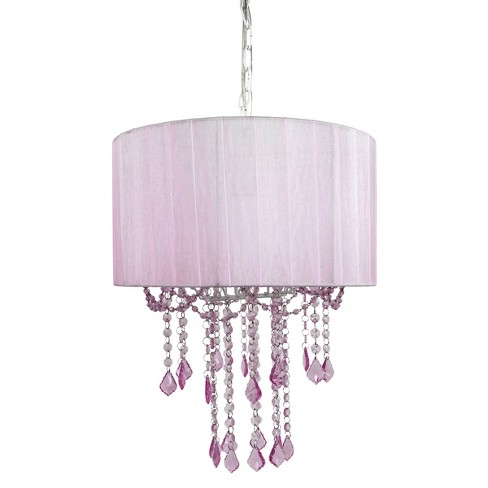 Tadpoles 1 Bulb Shaded Chandelier Pink