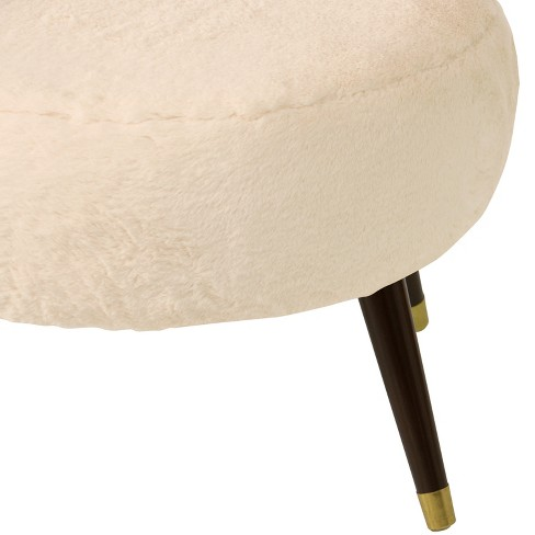 Pleasant Farwell Oval Ottoman With Gold Caps Cream Fur Project 62 Cjindustries Chair Design For Home Cjindustriesco