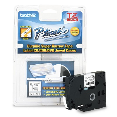 Brother P-Touch TZ Super-Narrow Non-Laminated Tape for P-Touch Labeler 1/8w Black on White TZEN201