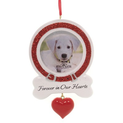 """Holiday Ornament 4.75"""" Forever In Our Heart Dog Frame Photo Loved Pet  -  Tree Ornaments"""