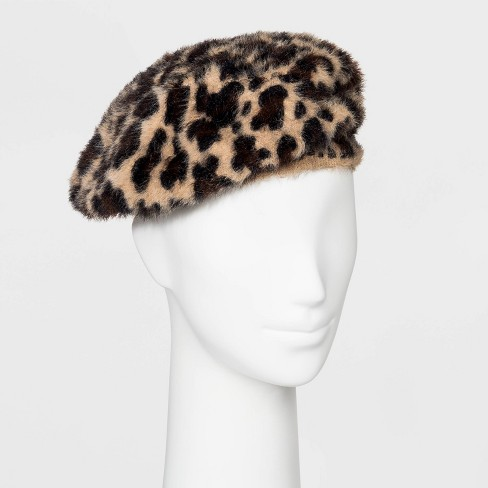 Women's Leopard Print Faux Angora Beret - A New Day™ - image 1 of 2