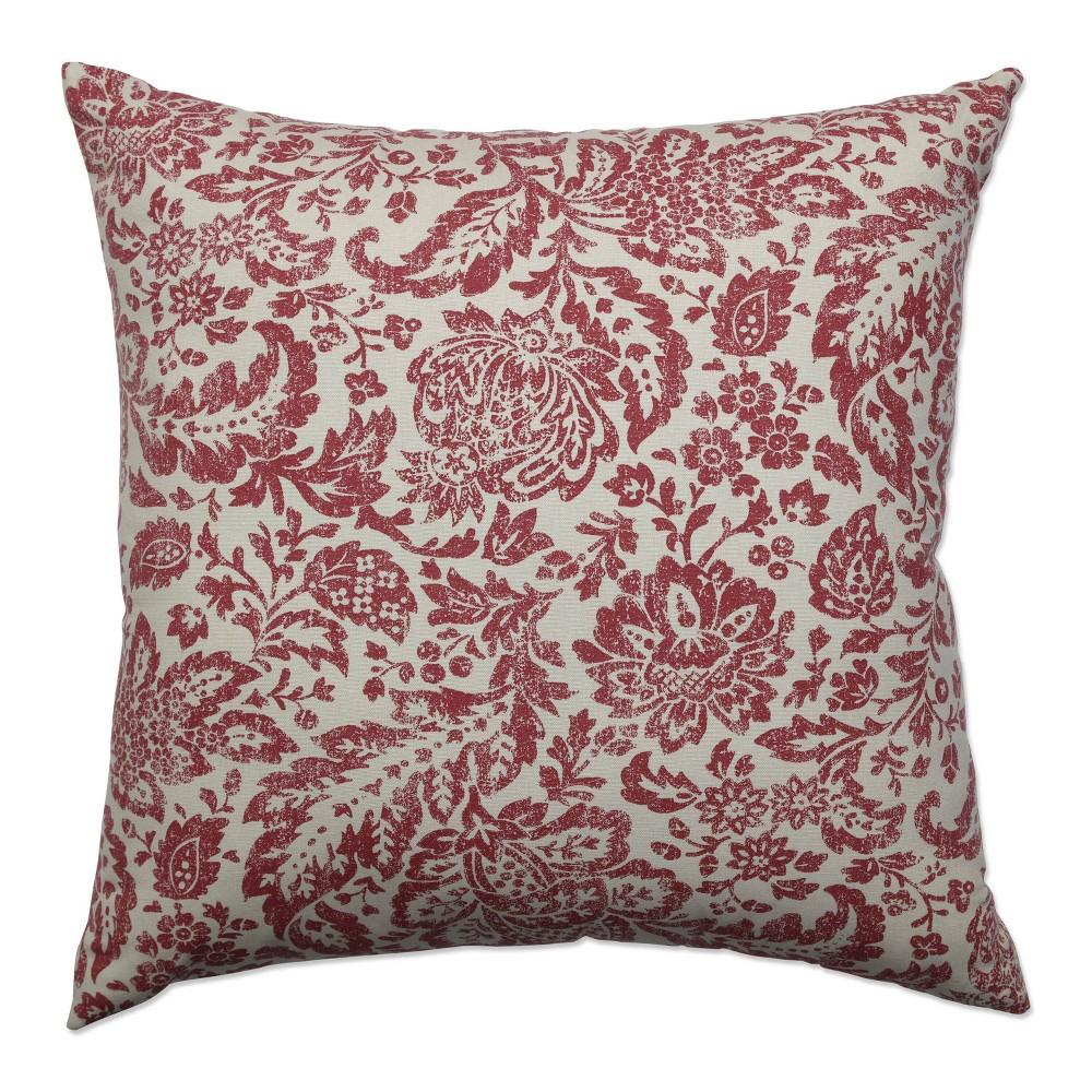Red Tan Floral Damask Throw Pillow 18 X18 Pillow Perfect