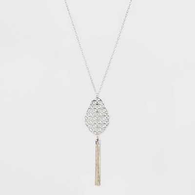 Tassel Filigree Pendant Long Necklace - A New Day™ Silver