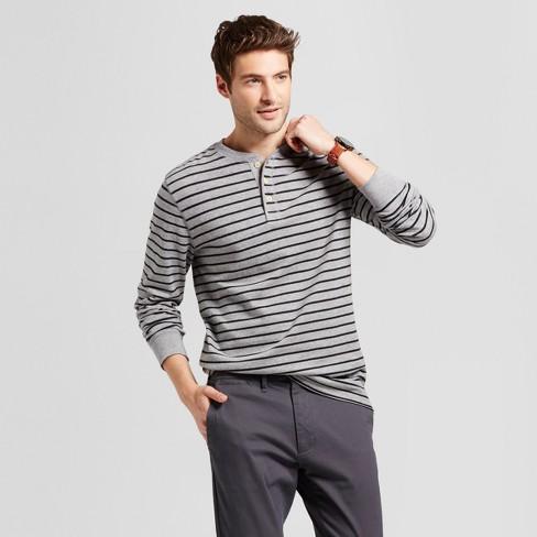 Men's Standard Fit Long Sleeve Henley T-Shirt - Goodfellow & Co™ Gray Stripe S - image 1 of 4