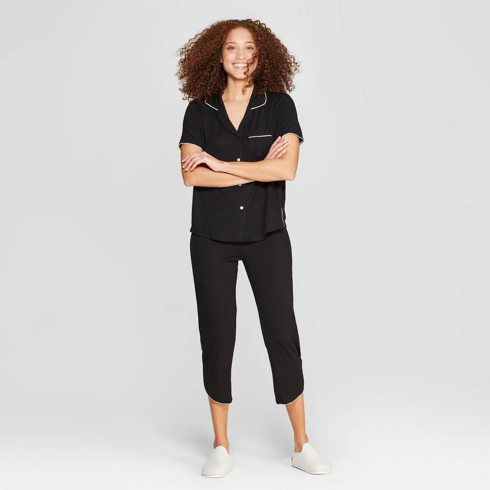 Women's Beautifully Soft Crop Notch Collar Pajama Set - Stars Above Black Xxl
