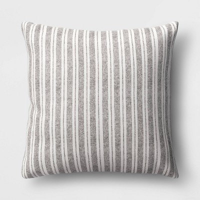 Oversized Striped Square Throw Pillow Black/Cream - Threshold™