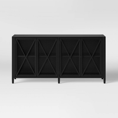 Fairmont Metal Media Stand with Storage Black - Threshold™
