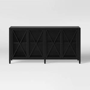 Fairmont Metal Media Stand with Storage Black - Threshold