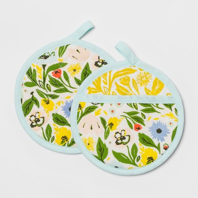 Floral Pot Holder Set Yellow - Opalhouse™