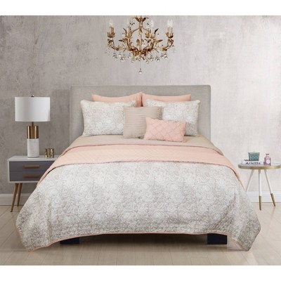 Riverbrook Home Katie Layered Comforter & Coverlet Set Blush/Taupe