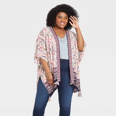 Women's Floral Print 3/4 Sleeve Jacket - Knox Rose™ Ivory