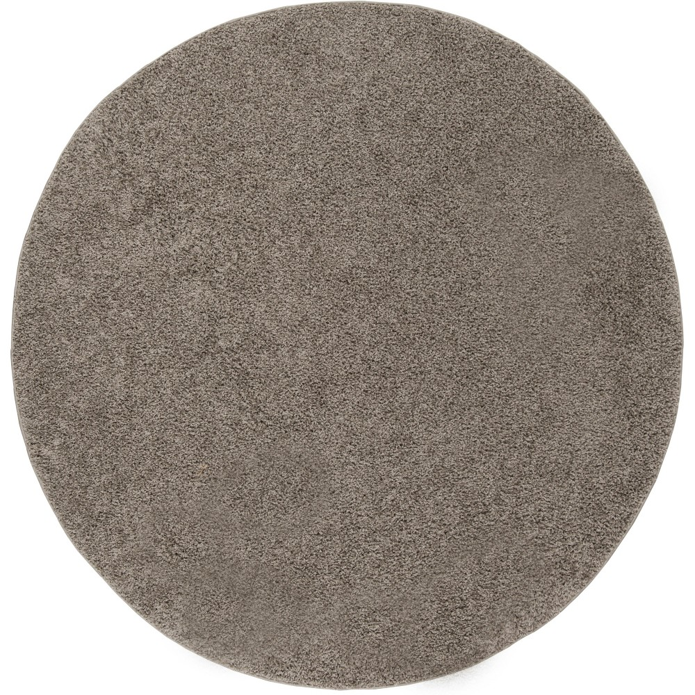 6'7 Solid Loomed Round Area Rug Gray - Safavieh