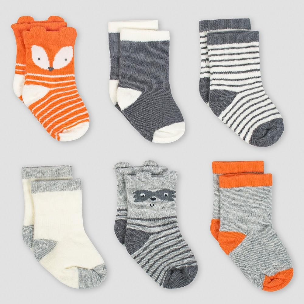 Gerber Baby Boys' 6pk Jersey Crew Wiggle Proof Sock Explorer - Gray/White/Orange 0/6M, Gray/White/Yellow