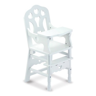 Melissa & Doug White Wooden Doll High Chair With Tray