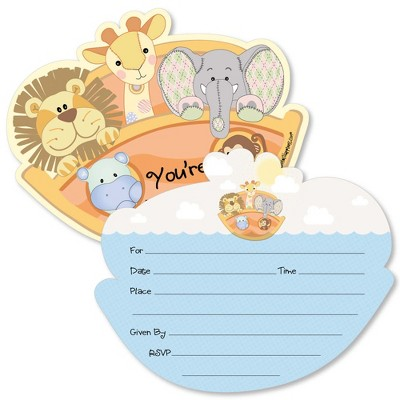 Big Dot of Happiness Noah's Ark - Shaped Fill-in Invitations - Baby Shower Invitation Cards with Envelopes - Set of 12