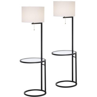 360 Lighting Modern Tall Floor Lamps Set of 2 with Glass Tray Table Black Metal White Fabric Drum Shades Decor Living Room Reading