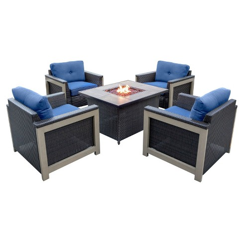 Montana 5pc All Weather Wicker Patio Set W Fire Pit Table Hanover
