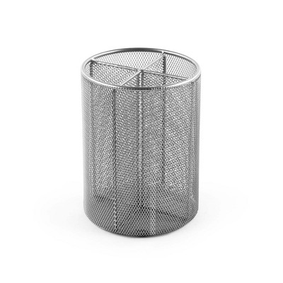 "Design Ideas Four Compartments Utensil Cup – Kitchen Utensil Holder- Silver Mesh, 6"" x 6"" x 8"""