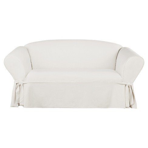 Essential Twill Loveseat Slipcover White Sure Fit Target