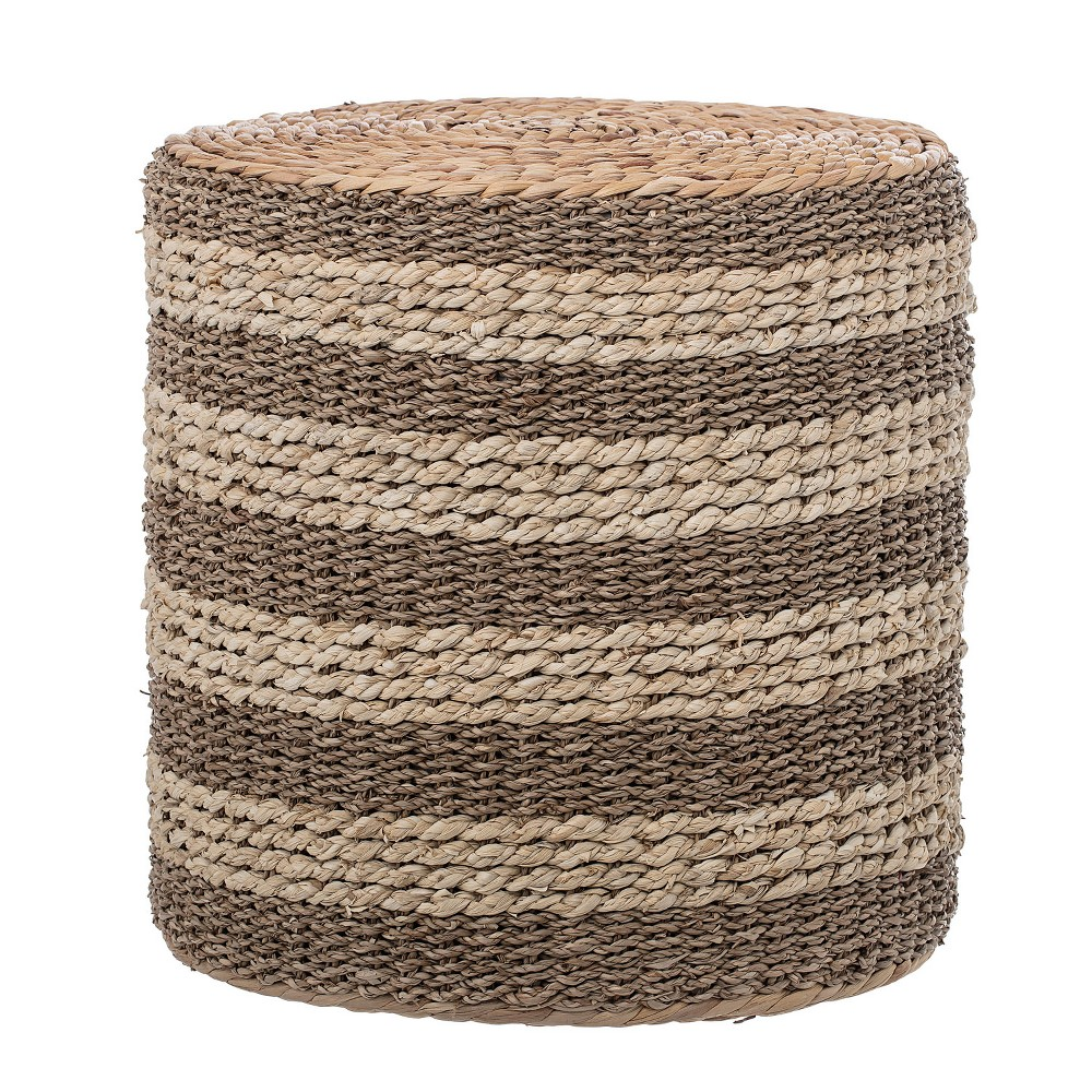 15.7 Decorative Striped Natural Seagrass & Water Hyacinth Side Table Brown - 3R Studios