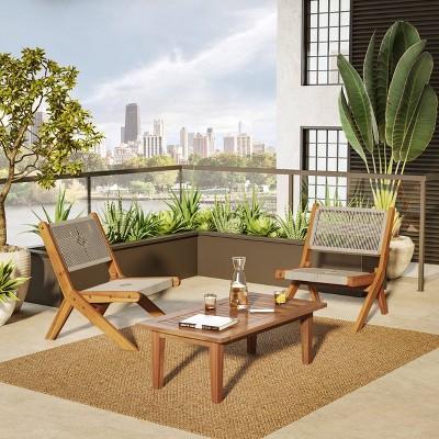 Acacia 3pc Outdoor Conversation Set with Folding Seating - Caramel - TK Classics