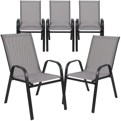Flash Furniture 5 Pack Brazos Series Outdoor Stack Chair with Flex Comfort Material and Metal Frame
