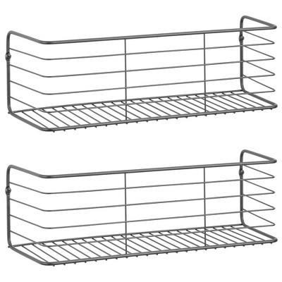 mDesign Wide Metal Wall Mount Storage Organizer Display Shelf - 2 Pack, Black