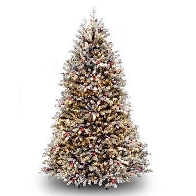 7ft National Christmas Tree Company Pre-Lit Dunhill Fir Hinged Full Artificial Christmas Tree with Snow, Red Berries, Cones with Clear Lights