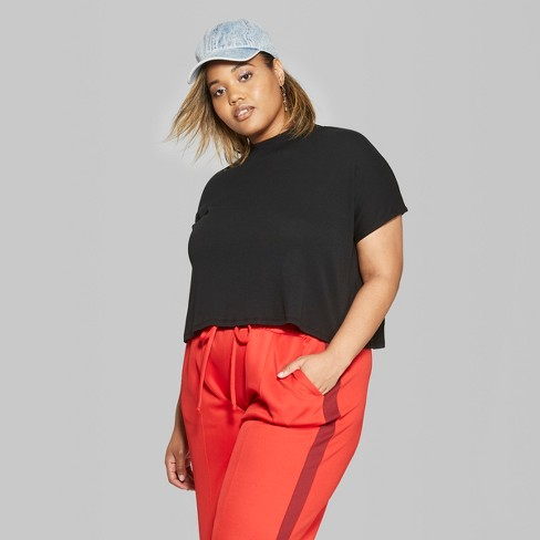 f07b4062dc37b Women s Plus Size Cropped Mock Neck Boxy Short Sleeve T-Shirt - Wild Fable™    Target