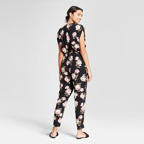 Womens Short Sleeve Wrap Front Tie Waist Skinny Jumpsuit K By