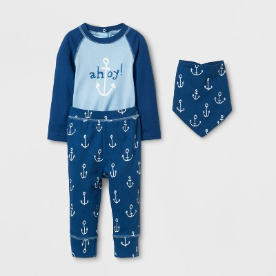 Baby Boys' 3pc Ahoy Bodysuit, Pants and Bib Set Cloud Island™ - Blue 12M