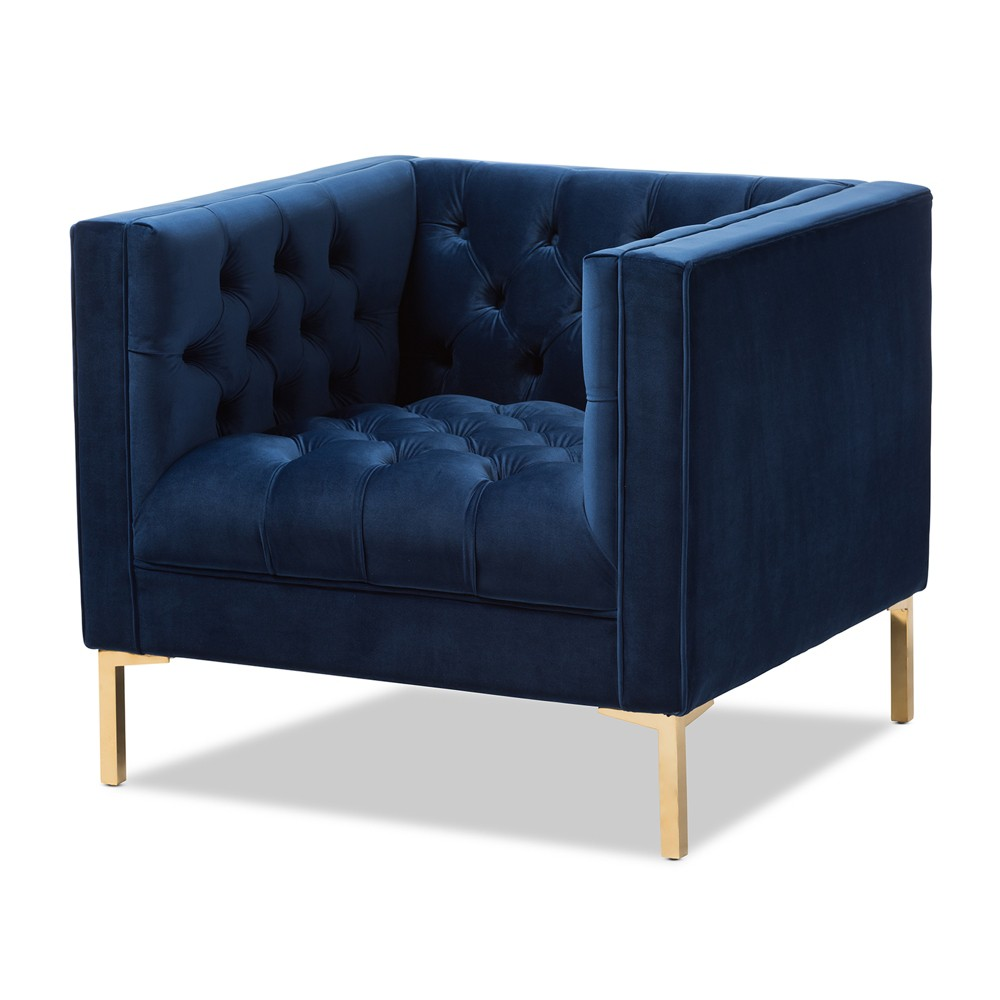 Zanetta Luxe and Glamour Velvet Upholstered Gold Finished Lounge Chair Blue - Baxton Studio