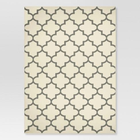 5'x7' Fretwork Design Area Rug Cream - Threshold™ - image 1 of 3