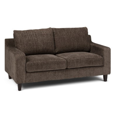 """65"""" Calsy Loveseat Deep Umber Brown Chenille Look Fabric - Wyndenhall"""