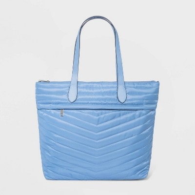 Striped Quilted Zip Closure Tote Handbag - A New Day™ Blue