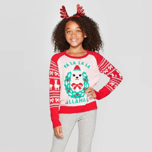 Llama Christmas Sweater.Well Worn Girls Fa La La Llama Ugly Christmas Sweater Pink