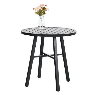 """28"""" Outdoor Metal  Round Dining Table - Black - Captiva Designs"""