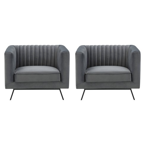 2pc Vandam Velvet Armchairs Charcoal Gray - Manhattan Comfort - image 1 of 4