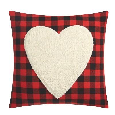 Heart Applique Decorative Throw Pillow Red - Dearfoams