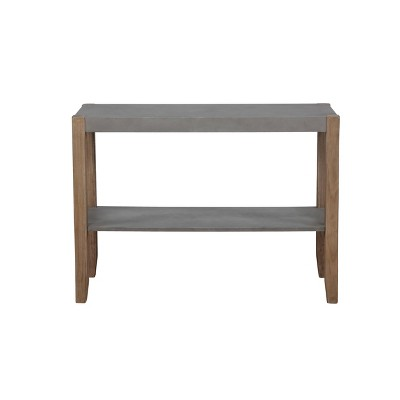 """40"""" Davenport Faux Concrete and Wood Console Table Light Amber - Alaterre Furniture"""
