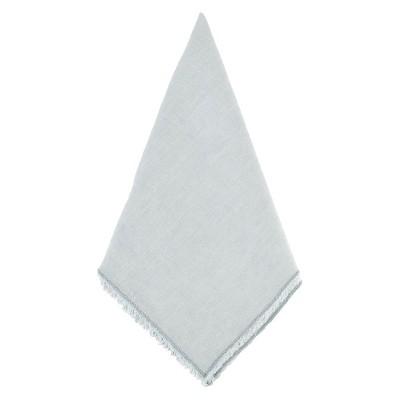 Fringed Design Stone Washed Napkins Blue/Gray (Set of 4)