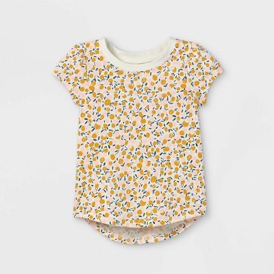 Toddler Girls' Floral Short Sleeve T-Shirt - Cat & Jack™ Cream
