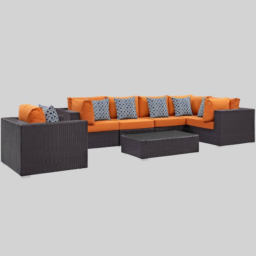 Convene 7pc Outdoor Patio Sectional Set - Orange - Modway