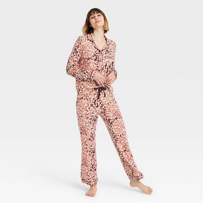 Women's Animal Print Beautifully Soft Long Sleeve Notch Collar Top and Pants Pajama Set - Stars Above™ Beige