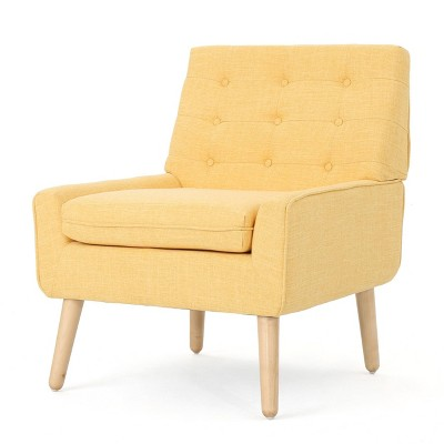 Eilidh Mid Century Tufted Accent Chair Muted Yellow - Christopher Knight Home