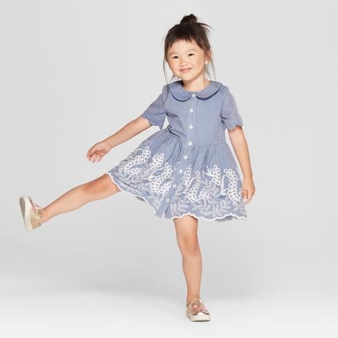 89b55b89e930 Toddler Girls  A-Line Dress - Genuine Kids® from OshKosh Chambray ...
