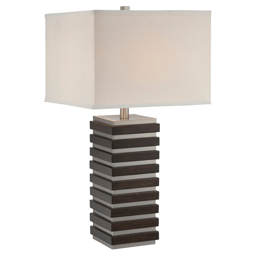Dante 1 Light Table Lamp (Lamp Only) - Dark Walnut, Brown/Off White/Silver