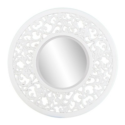 "31.75"" x 31.75"" Hingris Decorative Wall Mirror Whitewashed - Southern Enterprises"