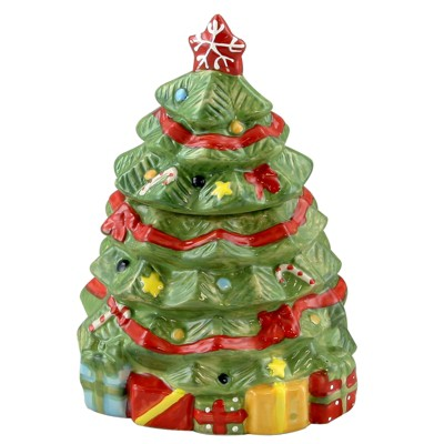 Gibson Home Mirthful Treats 7.9in Hand Painted Stoneware Christmas Tree Cookie Jar